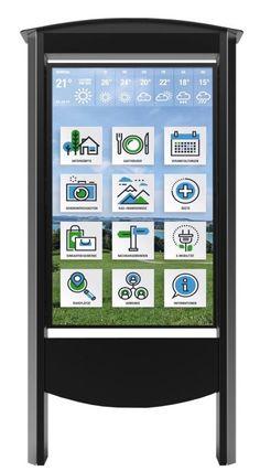 """Wind- & Wetterfest 🌦💨: Der Outdoor Smart Kiosk """"Tom"""" von Billboard Media macht bei jedem Wetter eine gute Figur. Die Informationsstele ist in den Ausführungen """"Non Touch"""" oder """"Multitouch"""" vorhanden und eignet sich perfekt als digitale Touristeninformation oder Amtstafel im Handel und Kommunen. Der Infopoint ist leicht via LAN und W-LAN zu bespielen & verfügt über eine automatische Helligkeitsregelung ☀️ Led, Kiosk, Frame, Outdoor, Home Decor, Weather, Contemporary Design, Figurine, Creative"""