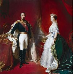 Napoleon III, the youngest son of Queen Hortense and Louis with his wife Empress Eugenie.