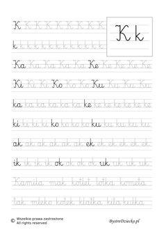 K - nauka pisania sylabami - karty pracy dla dzieci Worksheets For Kids, Cute Drawings, Montessori, Classroom, Math Equations, Education, Speech Language Therapy, Writing, Learning