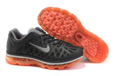 $46.98   Fake Mens Nike Air Max 2011 Black/Solar-Red/Silver Sneakers