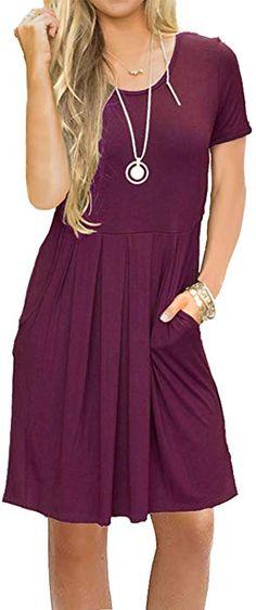 ddcdfe10edb JOSIFER Casual T Shirt Dress for Women Tunic Dress with Pockets