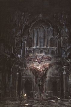 Discover a selection of artwork from, Bloodborne, a dark fantasy RPG developed by FromSoftware, produced with SIE Japan Studio and published by Sony Fantasy City, Dark Fantasy Art, Fantasy Rpg, Fantasy World, Dark Art, Bloodborne Concept Art, Bloodborne Art, Arte Horror, Horror Art