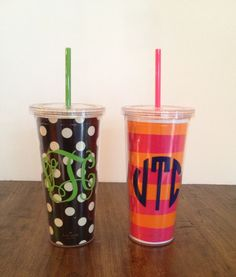 Monogrammed Kate Spade straw cups!