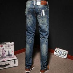 Fourkings Ripped Button Casual Jeans