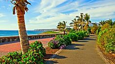 Photo about Promenade or walkway at Maspalomas Beach on Gran Canaria island in the Canary Islands. Image of coastline, colorful, foliage - 4155568 Hiking Routes, Hiking Guide, Great Places, Beautiful Places, Places In Spain, Travel Flights, Beach Images, Canario, Canary Islands