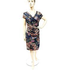 Women's Joseph Ribkoff  173668 Floral and Black Ribbon Dress   Blue Pink Multi