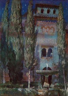 """Jorge Apperley  """"Patio de Lindaraja (Nocturno en la Alhambra)"""""""