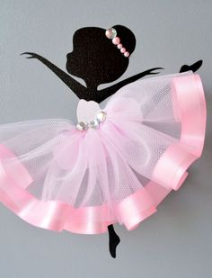 Ballerina nursery wall art. Pink and grey ballerina by FlorasShop: