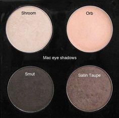 MAC Shroom, Orb, Smut, Satin Taupe eyeshadows.