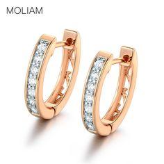 ee840cc9fe03 MOLIAM Amazing Earrings for Women White Crystals AAA Cubic Zirconia Hoop  Earrings Women s Fashion Jewelry MLE110