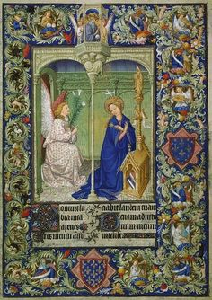 Illuminated manuscript page illustrating the Annunciation from the Belles Heures du Duc de Berry.