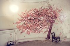 ethereal blossom tree mural photographed by tim walker Cherry Blossom Tree, Blossom Trees, Cherry Tree, Red Tree, Tim Walker Photography, Tree Photography, Fashion Photography, Wall Murals, Wall Art