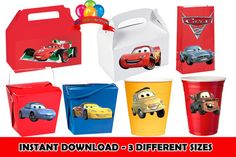 Disney Cars 2 Birthday Party Favors INSTANT DOWNLOAD Printable Labels Stickers for Balloons Treat Bags Invitations Cups Lighting McQueen