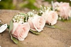 ALLIE comment: I like this simple flower, greenery, baby's breath look for boutonnieres-- for groom the blush rose that will be in my bouquet and for the groomsmen the coral/orange rose that we chose Blush Wedding Flowers, White Wedding Bouquets, Blush Pink Weddings, Bride Bouquets, Bridal Flowers, Floral Wedding, Trendy Wedding, Diy Wedding, Wedding Ideas