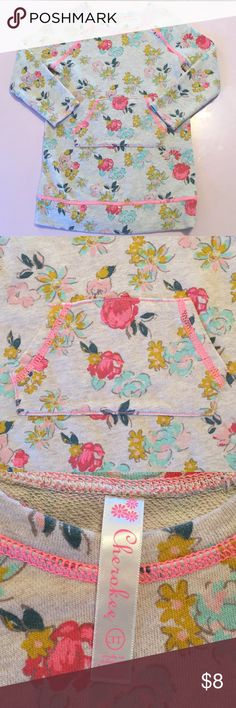 Cherokee Girls 3T Sweater Top Long Sleeve Floral Sweater Top with Pink Stitching and pockets on the front - Cherokee Size 3T Cherokee Shirts & Tops Sweaters