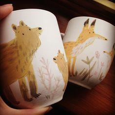 Some more new bits from this morning #illustration #painting #handpainted #bear #fox #mug #ceramics #etsy