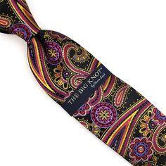 Steven Land Big Knot Silk tie Navy Blue gold Royal Vertical Candy Stripe