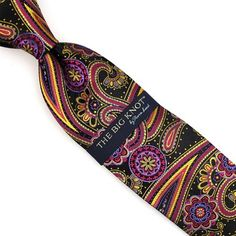 Steven Land Big Knot Black Fuchsia Gold Paisley Neck Tie Silk Neck Tie