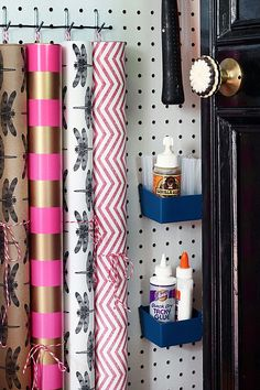Organize Wrapping Paper on a Pegboard