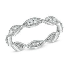 1/2 CT. T.W. Diamond Vintage-Style Eternity Wedding Band in 14K White Gold - Zales