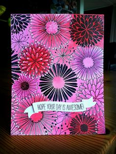 Beautiful floral card featuring the Everything Flower stamp. Created by pippa67, via Flickr