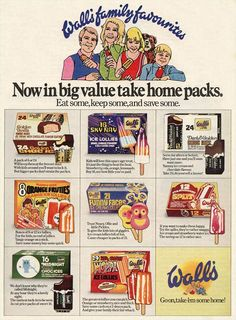 Walls ice cream advert from the , back when it was a novelty not to buy these from the ice cream van! Retro Ads, Vintage Advertisements, Vintage Ads, Retro Food, Vintage Food, Walls Ice Cream, Vintage Sweets, Magazine Advert, Ice Cream Van