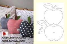 Apple pillows - this time with pattern - diy dani - Cool Decorative Pillows Fabric Crafts, Sewing Crafts, Sewing Projects, Diy Projects, Love Sewing, Sewing For Kids, Make Your Own Pillow, Sewing Pillows, Creation Couture