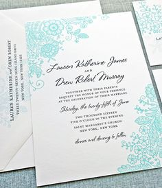 Gorgeous wedding invitation in aqua