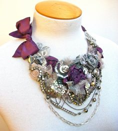 Larkspur and Luster bib necklace with Vintage by WrappedInClover, $210.00