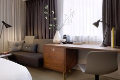 Amazing Hotel Room Ideas to Implement in your Home. — Best Architects & Interior Designer in Ahmedabad - iPhone 6 Plus Design Hotel, Small Room Design, Hotel Interiors, Interiores Design, Room Interior, Decoration, Hotel Amsterdam, Amsterdam Netherlands, Writing Desk