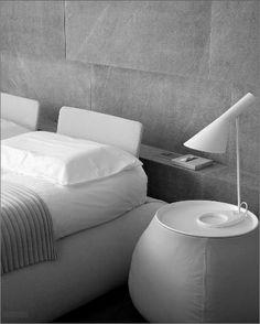 greys + white bedroom