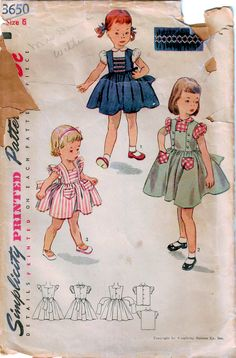 Popular then & now! In my #etsy shop: 1950s Simplicity 3650 Vintage Sewing Pattern Girls Sundress, Pinafore, Blouse, Jumper, Size 6 https://etsy.me/2HzctWH #supplies #sewing #girlsdresspattern #girlssundress #girlspinafore #girlsjumper #jumperpattern #50sgirlssundress