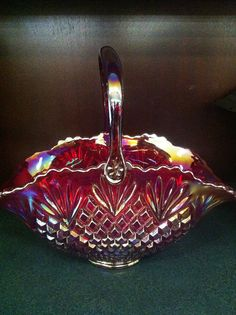 Very Rare Red Carnival Glass bowl with handle on Etsy, $695.00