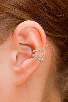 18K Gold Set Of 2 Ear Cuff CZ Pave With 18K Gold or by iPreciousgr