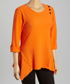 Look what I found on #zulily! Orange Button-Accent Sidetail Tunic - Plus by Come N See #zulilyfinds