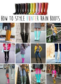 How to Style Hunter Rain Boots for those wet/rainy days . . . . really needed these this morning!