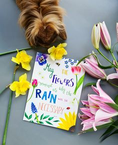 May the flowers remind us why the rain was so necessary - Xan Oku - original watercolor illustration by Studio Sonate. www.studiosonate.nl Watercolor Illustration, Rain, Studio, Flowers, Prints, Etsy, Instagram, Design, Rain Fall