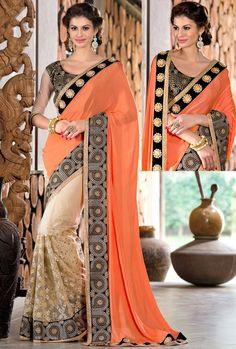 Beige Net Saree with Blouse - SAREE - #IndiandesignerSarees