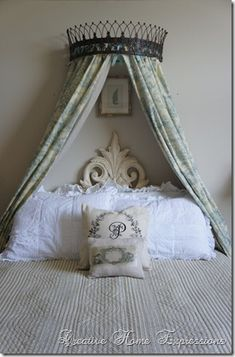 Peonies and Orange Blossoms: Bed Cornices Home Bedroom, Girls Bedroom, Bed Crown Canopy, Bed Canopies, Princess Nursery, Princess Room, French Bed, Bed Curtains, Bedroom Seating