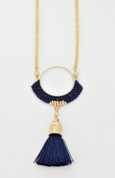 navy blue and gold hoop tassel necklace-brick stitch-miyuki delica seed beads-czech tri-cut seed beads-tassel necklace-boho chic Beaded Tassel Necklace, Boho Necklace, Beaded Earrings, Beaded Jewelry, Pendant Necklace, Etsy Jewelry, Undone Look, Hippie Jewelry, Brick Stitch