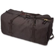 Extra Large Wheeled Duffle Bag BROWN Water Repellent. 3 heavy duty sled runners and 2 ball-bearing roller-blade wheels aligned to prevent catching on curbs. Two-way brass zipper with leather pulls with storm flap and leather snap tab closure.. 1 open interior pocket; 2 interior zippered pockets on each end.  #Filson #Apparel