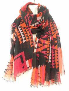 "Oversized 70"" x 42"" Scarf Shawl Red Black Orange Ikat Tribal Print  #Unbranded #ShawlWrap"