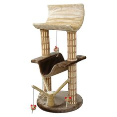 The Cat Life Multi-Level Lounger with Play Tree and Bamboo Posts offers play, nap and lounge areas all in one compact piece of cat furniture. Your feline friend will love attacking, batting at and pouncing on the dangling mice, and sturdy scratching posts help them fulfill their natural scratching needs. Best of all, the lounge areas are covered in faux fur for soft, cozy snoozing that will inspire purr-fect kitty dreams. Gender: unisex.