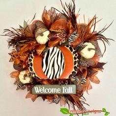 Fall Deco Mesh Wreath by CreativeDesignsJMH on Etsy Fall Deco Mesh, Deco Mesh Wreaths, Fall Wreaths, Thanksgiving Wreaths, Thanksgiving Ideas, Autumn Theme, Fall Season, Seasons, Handmade Gifts