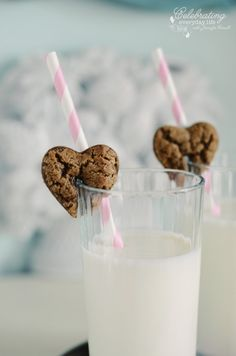 Heart brownies that hang on your cup of milk.