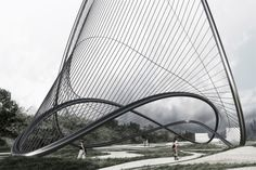 Daniel Widrig with Melike Altinisik // Meridian, Istanbul (2012)*    Competition entry (First Prize)  Height 21.0m  Landmark structure #tensile #cnctubebending #sculpture