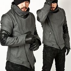 Outerwear - ★SOLD-OUT★ Striking Diagonal Closure Accent Unbalance Ninja Wool Jacket - 69 for only 93.00 !!!