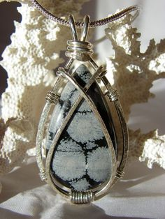 Snowflake Obsidian Sterling Silver Wire by SilverAndStoneWorks, $59.00
