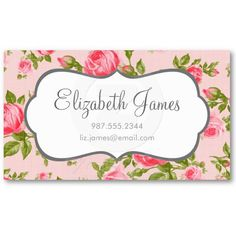 Girly Chic Vintage Roses with Linen Texture Business Card Templates