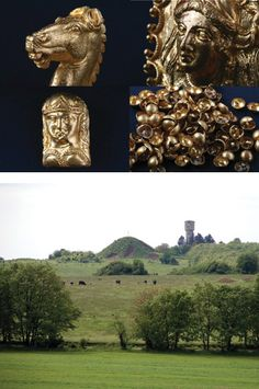 (Diana Gergova)The impressive gold artifacts found at a recently excavated mound (above) in the Sveshtari necropolis in Bulgaria include finely crafted jewelry with animal motifs including this horse head (top left) and dozens of appliqués of female figures (top right and bottom left), as well as 100 gold buttons (bottom right).  Discovery of Thracian artifacts.